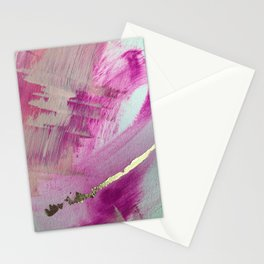Starburst: a colorful, minimal abstract mixed-media piece in pinks and gold by Alyssa Hamilton Art Stationery Cards