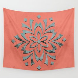 Geometric metallic flower coral grey Wall Tapestry