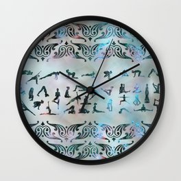 Labradorite Yoga Asanas  on mother of pearl Wall Clock