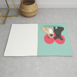 Pug French Bulldog valentine love cute gift for dog person hearts pastel mint kids children puppy Rug