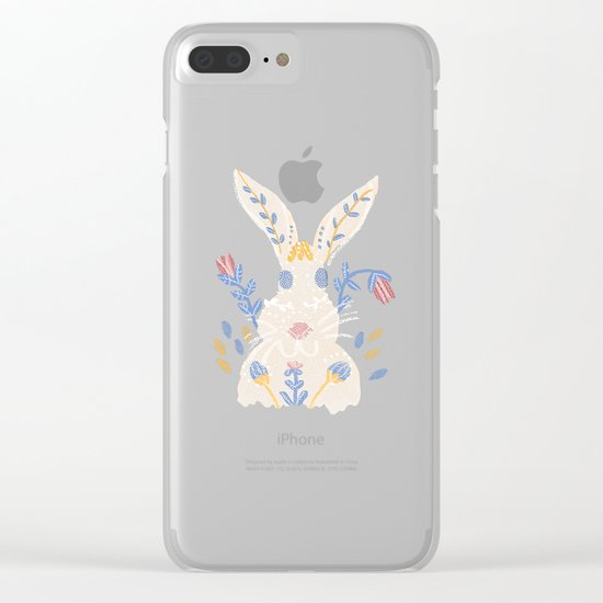 Floral Rabbit Clear iPhone Case