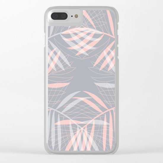 Palm leaves lace pattern on grey Clear iPhone Case