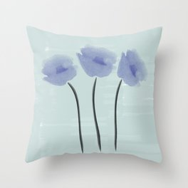 Blue  Anemones Throw Pillow