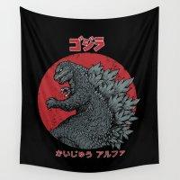 kaiju Wall Tapestries featuring Gojira Kaiju Alpha by pigboom el crapo