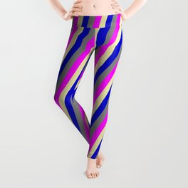 Pale Goldenrod, Blue, Grey, and Fuchsia Colored Stripes Pattern Leggings