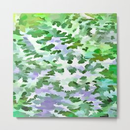 Foliage Abstract In Green and Mauve Metal Print