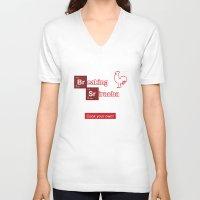 sriracha V-neck T-shirts featuring Breaking Sriracha by Don Paris Schlotman