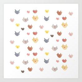 Cat Family for J&K #1 (medium cats) Art Print
