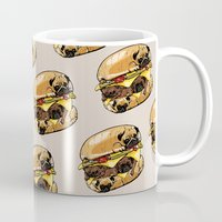 pugs Mugs featuring Pugs Burger by Huebucket