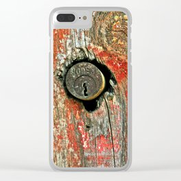 Weathered Wood Texture with Keyhole Clear iPhone Case