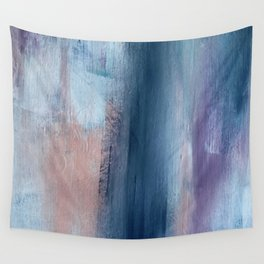 In a Blur: an abstract mixed media piece in pinks, blues, and purple Wall Tapestry