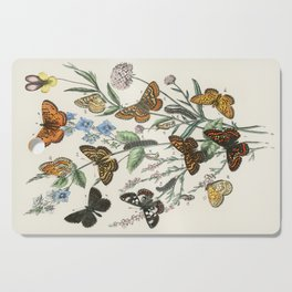 Vintage Scientific Illustration Butterfly Botanical Floral Lithograph Encyclopaedia Diagrams  Cutting Board