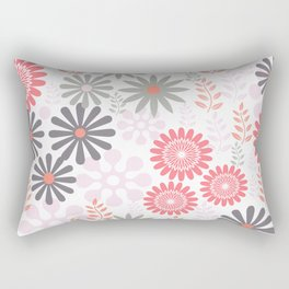 Floral pattern in pink and gray Rectangular Pillow
