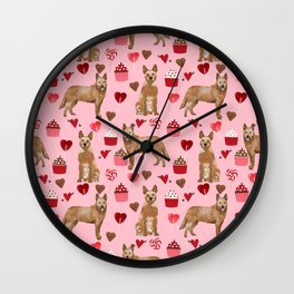 Australian Cattle Dog red heeler valentines day cupcakes hearts love dog breed gifts Wall Clock