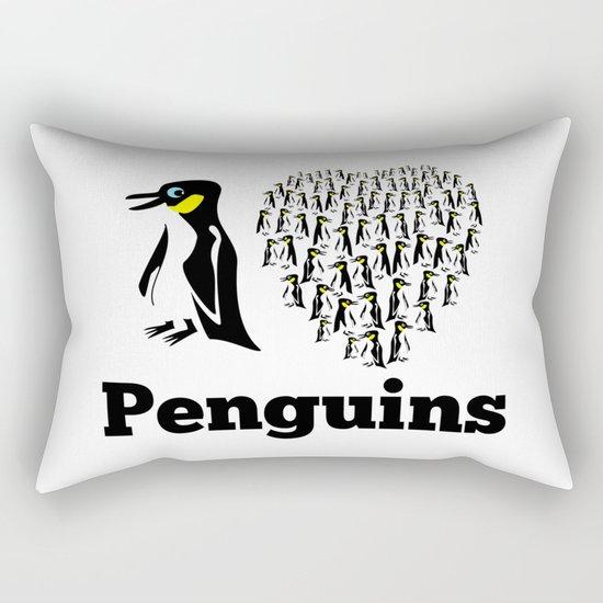 I Love Penguins Heart Rectangular Pillow