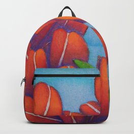 Botanical Painting with Reds and Blues Backpack