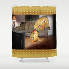 Father And Son Couch Potatoes Shower Curtain