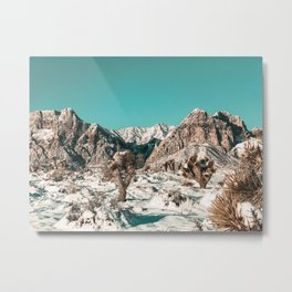 Vintage Cactus Snow & Mountains // Desert Landscape Photograph in the Mojave at Winter Red Rocks Metal Print