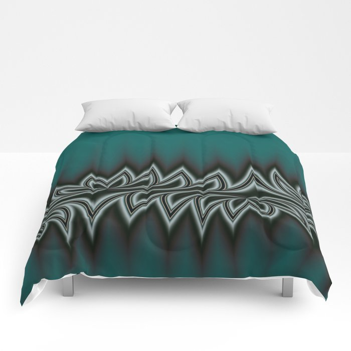 Fractal Tribal Art in Pacific Teal Comforters