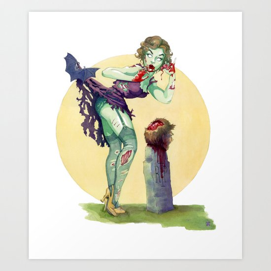 """Midnight Snack"" - Zombie Pin-up Art Print"