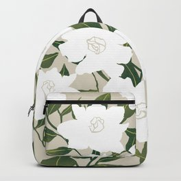 White floral pattern on tan Backpack