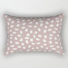 Simply Ink Splotch Lunar Gray on Clay Pink Rectangular Pillow
