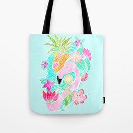Tropical summer watercolor flamingo floral pineapple Tote Bag