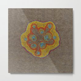 Growing - Cucumis - embroidery based on plant cell under the microscope Metal Print