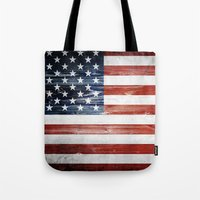 american flag Tote Bags featuring American flag by Nicklas Gustafsson