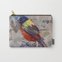 Painted Bunting Bird on Newsprint Carry-All Pouch