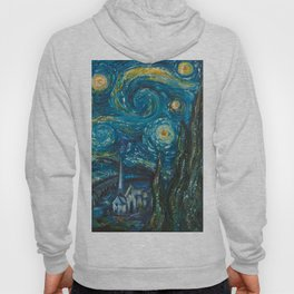 Modern interpretation of Vincent Van Gogh's scene of The Starry Night. Hoody