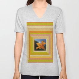 Orange Daylily, terracotta orange beige yellow green tan gold Unisex V-Neck