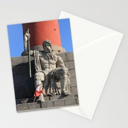 Figure of a man with a paddle sitting at the foot of the Rostral column. A little girl jumps over he Stationery Cards