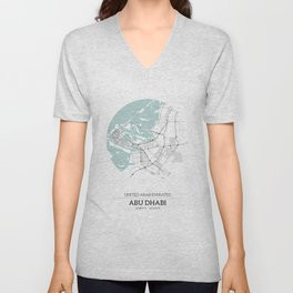 Abu Dhabi City Map with GPS Coordinates Unisex V-Neck