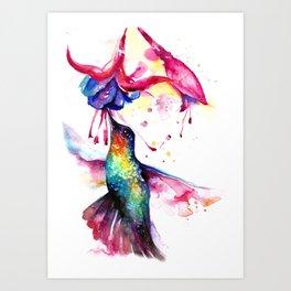 Rainbow Hummingbird in Flowers with Nectar Art Print