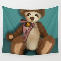 teddy bear Wall Tapestries featuring Teddy Bear by Woofer