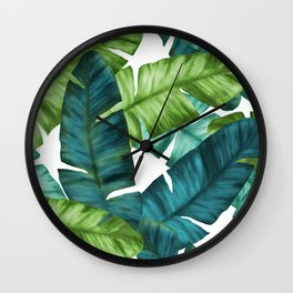 Tropical Banana Leaves Unique Pattern Wall Clock