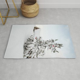 Christmas Tree In The Snow In Nordic Lapland | Norway Photo Art Print | Travel Photography Rug