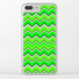 Lime Green Saw-tooth waveform Clear iPhone Case