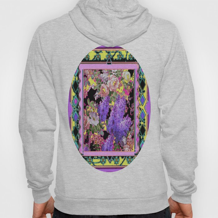 Western Style Lilac's & Roses Garden Design Hoody