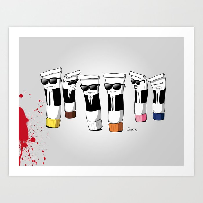 Reservoir Colours (with blood and light colored t-shirts) Art Print