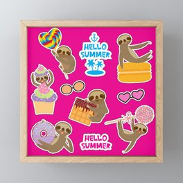 Hello Summer bright tropical patches stickers. Kawaii cute sloth collection Framed Mini Art Print