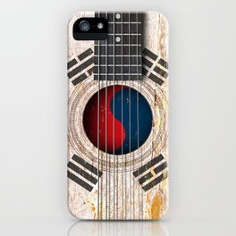 Old Vintage Acoustic Guitar with South Korean Flag iPhone Case
