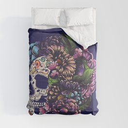 Day of the dead floral sugar skull with flowers colorful design Comforters