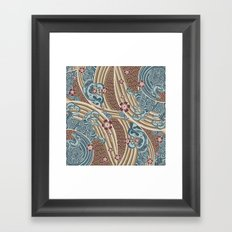 Waves of tradition-olive Framed Art Print