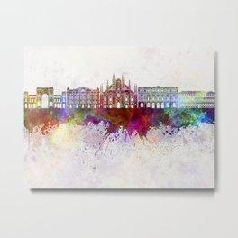 Milan skyline in watercolor background Metal Print