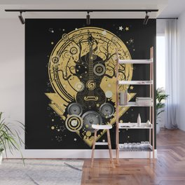 Retro geometric music themed design with guitar tree Wall Mural