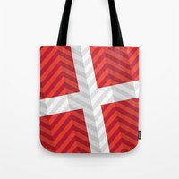 denmark Tote Bags featuring Denmark Flag by m. arief (mochawalk)