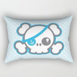 Kawaii Blue Pirate Caption Skull Rectangular Pillow