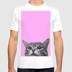 Curious Cat White MEDIUM Mens Fitted Tee